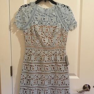 Open lace baby blue dress with lining 6 Petite